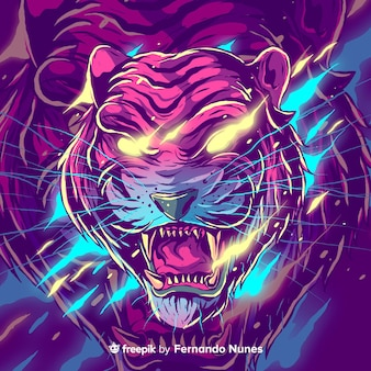 Illustrated colorful abstract tiger