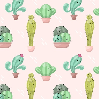 Illustrated colorful cactus pattern