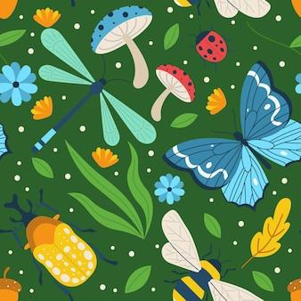 カラフルな昆虫と花のパターンを示す