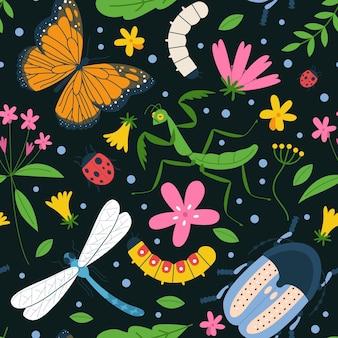 Insetti colorati illustrati e reticolo di fiori