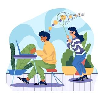 Иллюстрированная концепция плагиата с человеком, работающим