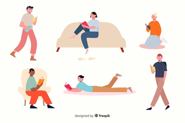 Illustrated concept with people reading