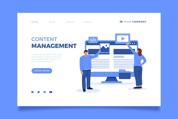 Illustrated content management system landing page template