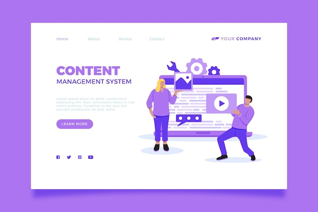 Illustrated content management system landing page