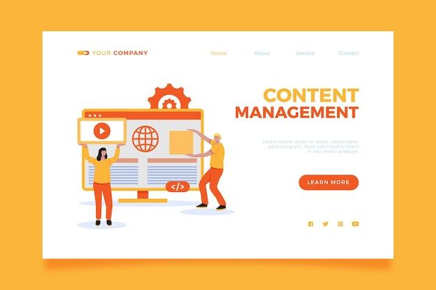 図解されたコンテンツ管理システムのランディングページ