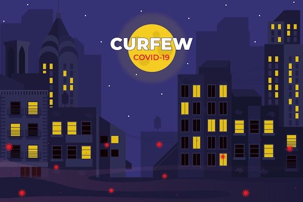 夜の空の町と図解コロナウイルス門限の概念