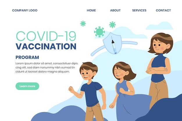 Modello illustrato della pagina di destinazione del vaccino contro il coronavirus