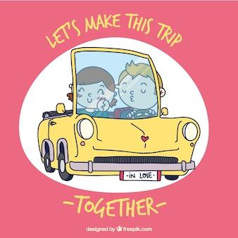 Иллюстрированный пара в автомобиле