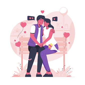 Иллюстрированная пара, сидящая на скамейке