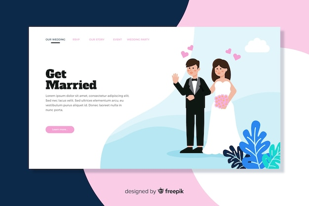 Illustrated couple on wedding landing page template