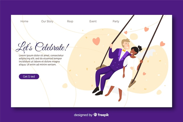 Illustrated couple on wedding landing page