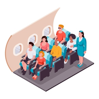 Illustrated creative isometric airplane boarding