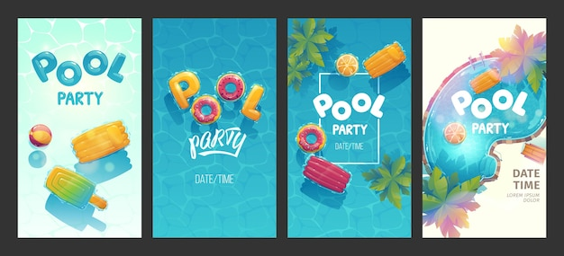 Illustrated creative swimming pool stories