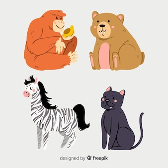 Illustrated cute animals collection