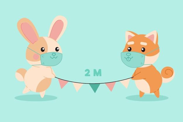 Simpatici animali illustrati che praticano l'allontanamento sociale