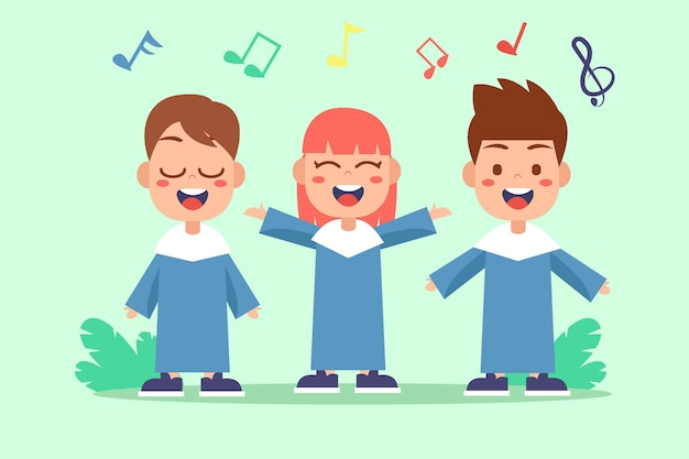 Illustrated cute children singing in a choir