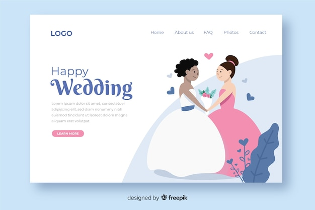 Illustrated cute wedding landing page template