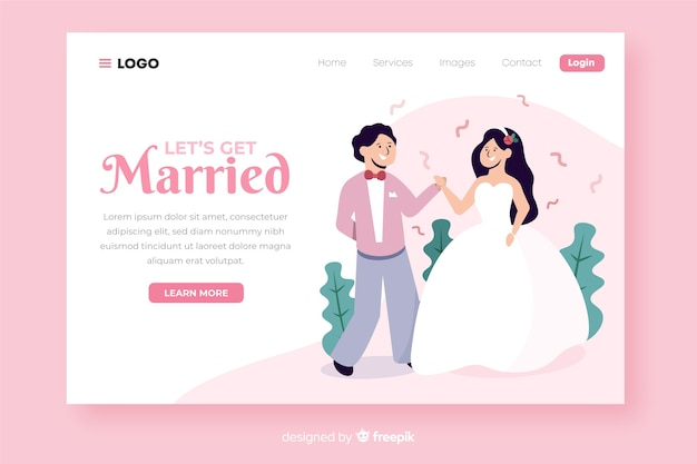 Illustrated cute wedding landing page