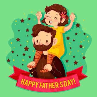 Иллюстрированный папа держит свою дочь на плечах
