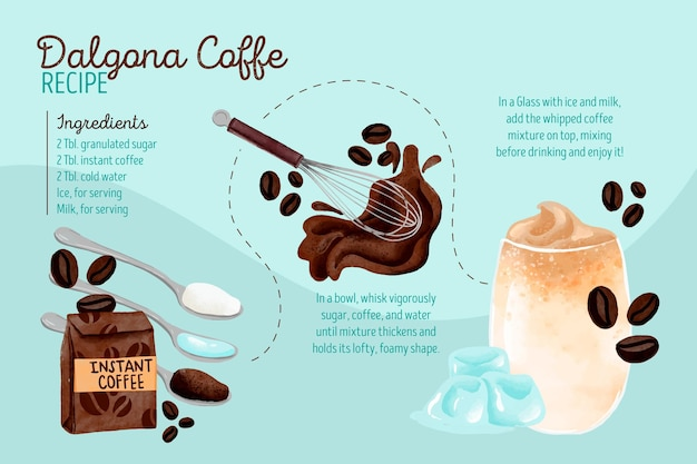 Illustrated dalgona coffee recipe