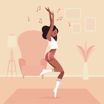 집에서 그림 된 댄스 피트니스