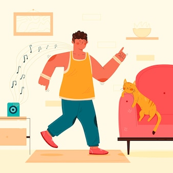 Illustrated dance fitness at home
