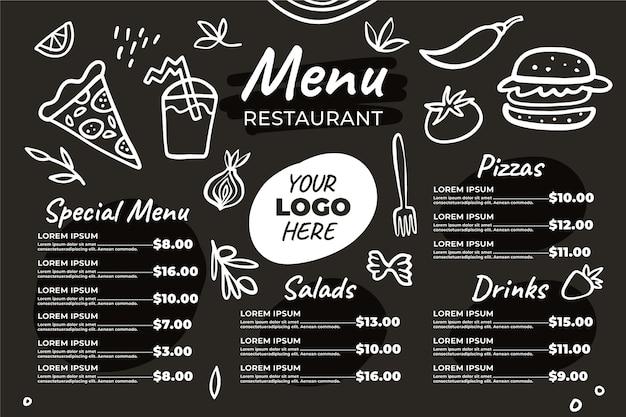 Иллюстрированное темное меню ресторана для цифровой платформы в горизонтальном формате