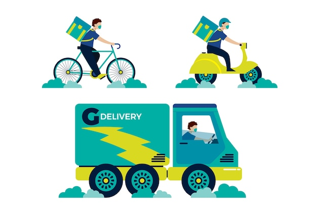 Illustrated delivery service with mask