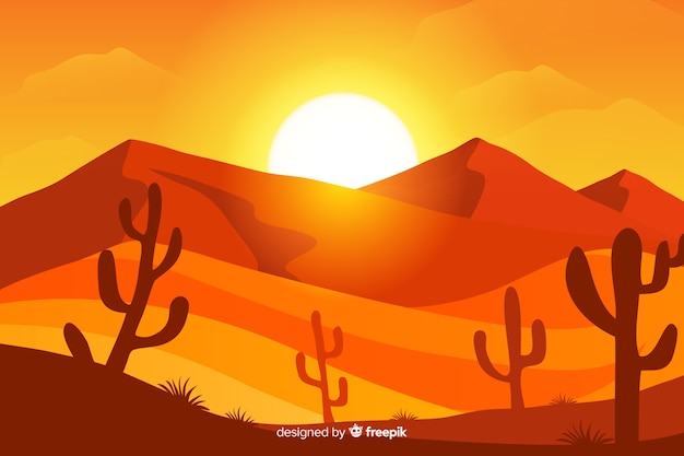 Illustrated desert landscape with sun