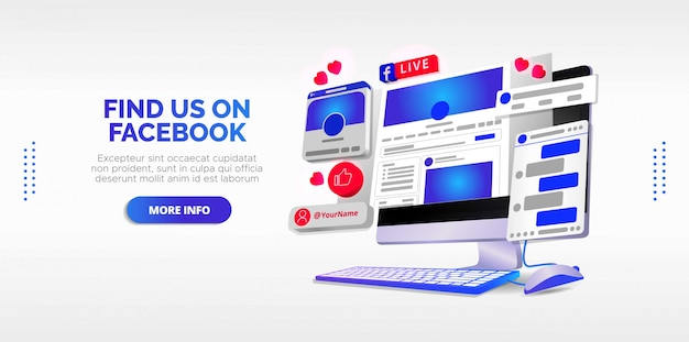 Illustrated design of facebook live in your account.