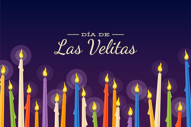 Illustrated día de las velitas candles