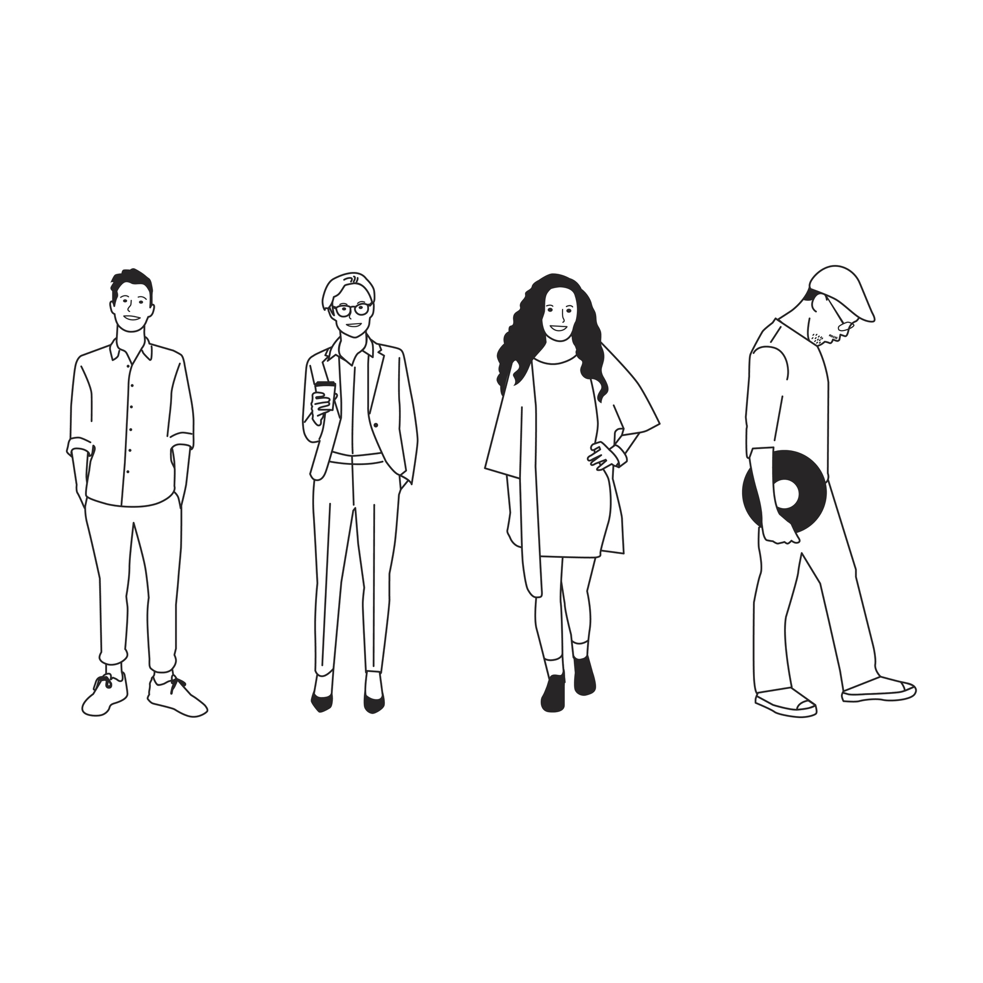 Illustrated diverse casual people