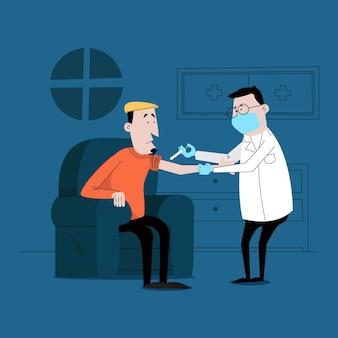 Medico illustrato che inietta il vaccino a un paziente