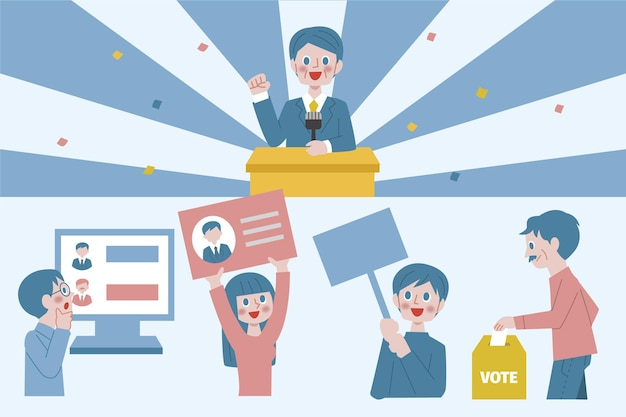 Illustrated election campaign scenes