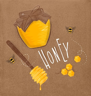 Illustrated elements honey spoon, honeycombs, bank with honey, bees honey drawing on craft