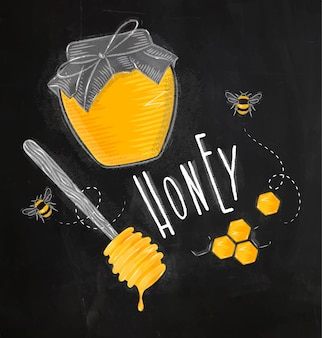 Illustrated elements honey spoon, honeycombs, bank with honey, bees lettering honey drawin