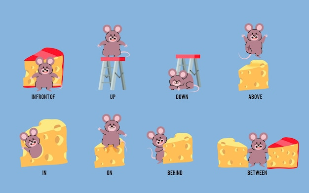 Illustrated english prepositions with mouse