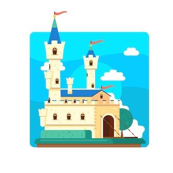 イラストのおとぎ話の城のコンセプト