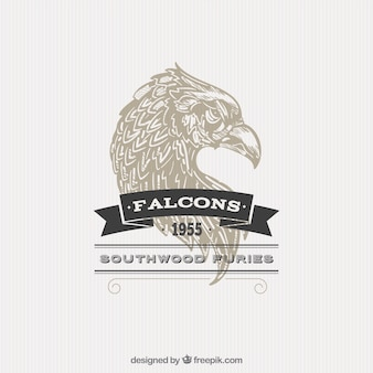 Illustrated falcon badge