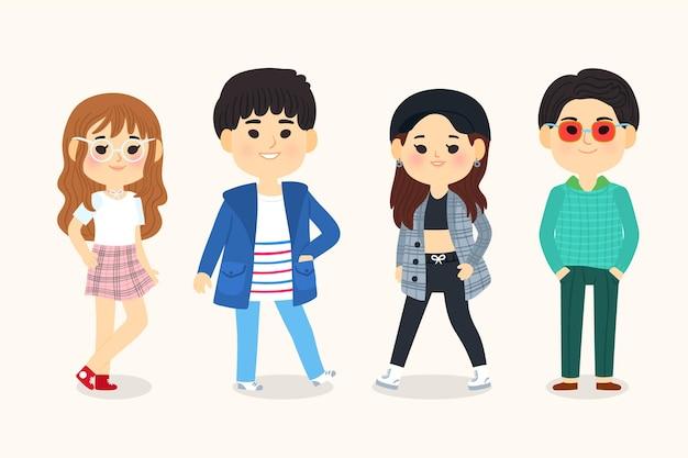 イラスト入りの若い韓国人
