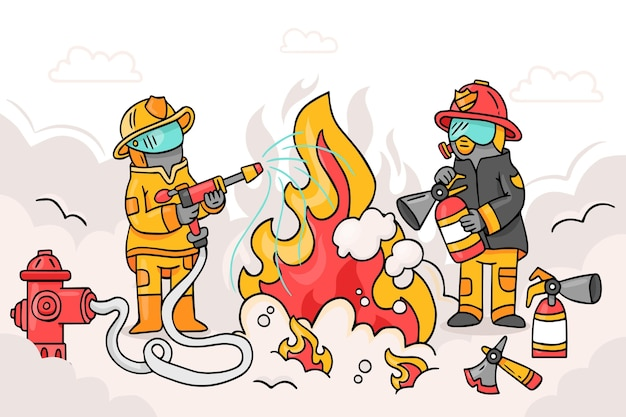 Illustrated firefighters putting out a fire
