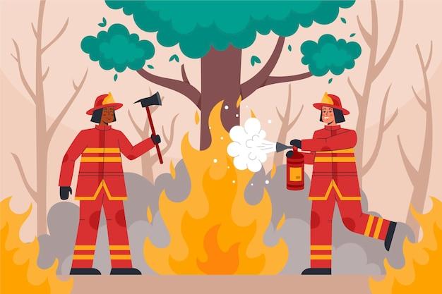 Vigili del fuoco illustrati che spengono un incendio