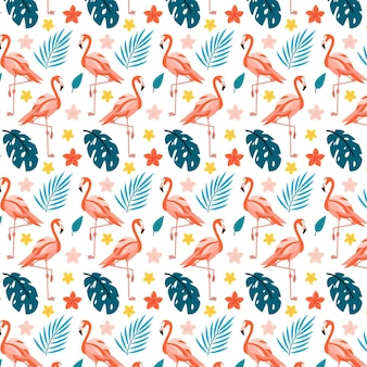 Illustrated flamingo bird pattern with tropical leaves