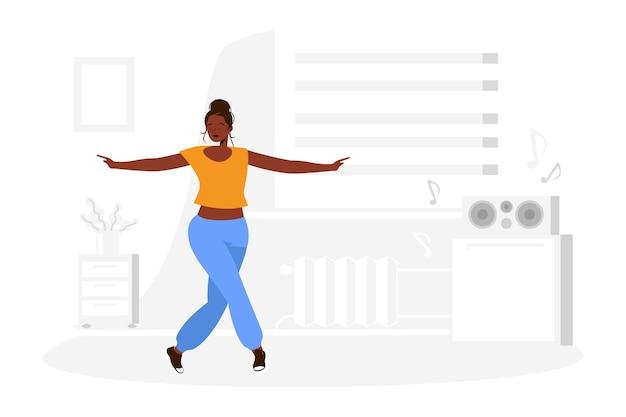 Иллюстрированный плоский танцевальный фитнес дома