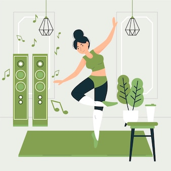 Illustrato fitness danza piatta a casa
