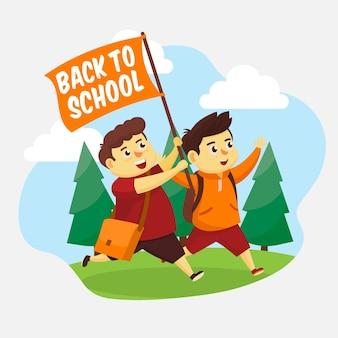 Иллюстрированный плоский дизайн детей обратно в школу