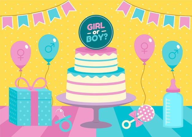 Illustrated flat gender reveal concept