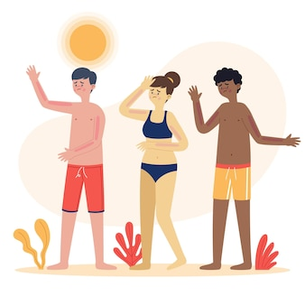 Illustrated flat people with a sunburn