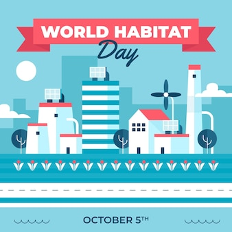 Illustrated flat world habitat day