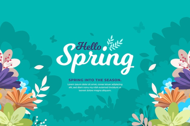 Illustrated floral spring background